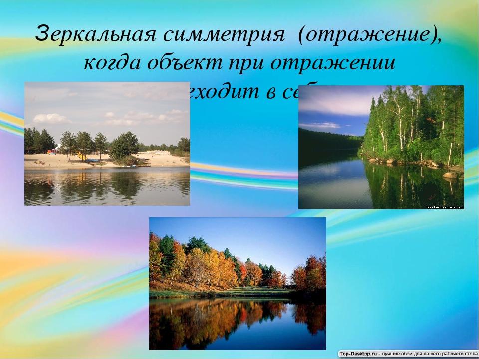 Зеркальная симметрия (отражение), когда объект при отражении переходит в себя