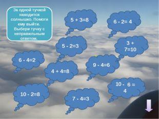 5 + 4=10 4 + 3=6 7 - 2= 4 10 - 4=5 7 + 3=9 3 + 3=7 10 - 8= 3 Создай ясную по
