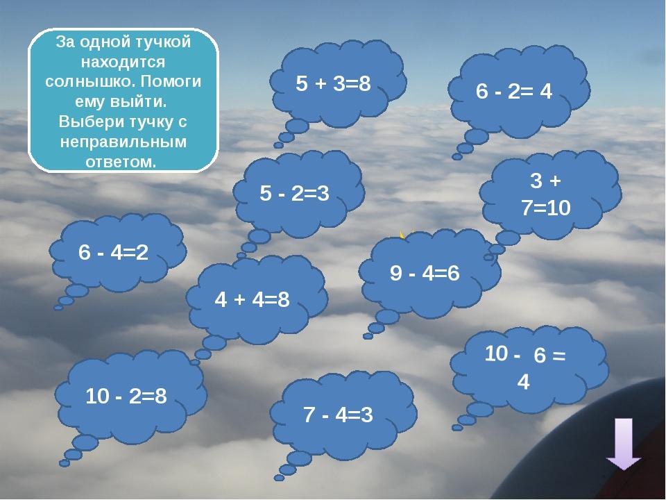 5 + 4=10 4 + 3=6 7 - 2= 4 10 - 4=5 7 + 3=9 3 + 3=7 10 - 8= 3 Создай ясную по...