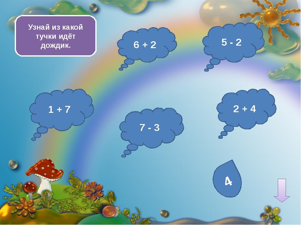 9 - 5 10 - 7 4 + 3 3 + 2 Выбери тучку с наименьшим ответом 2 + 7 2 + 6 1 + 5...