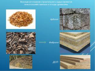 Важным источником строительного сырья является сельскохозяйственные и отходы