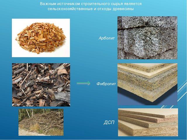Важным источником строительного сырья является сельскохозяйственные и отходы...