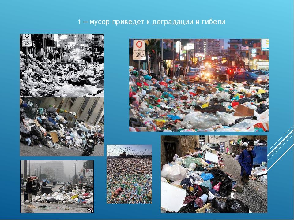 1 – мусор приведет к деградации и гибели