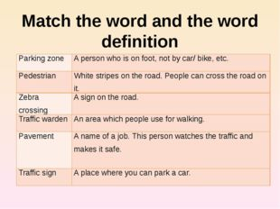 Match the word and the word definition Parking zone A person who is on foot,