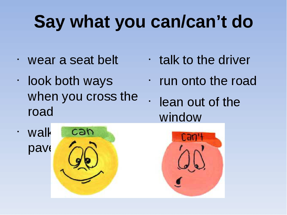 Say what you can/can't do wear a seat belt look both ways when you cross the...