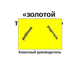 «золотой треугольник» ребёнок родители Классный руководитель