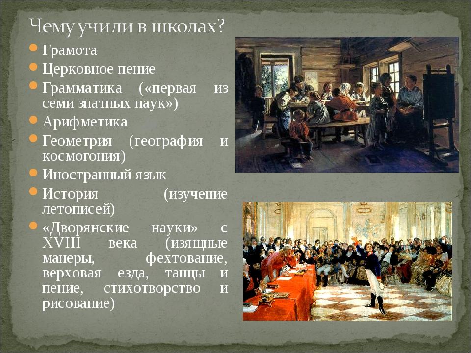 Грамота Церковное пение Грамматика («первая из семи знатных наук») Арифметика...