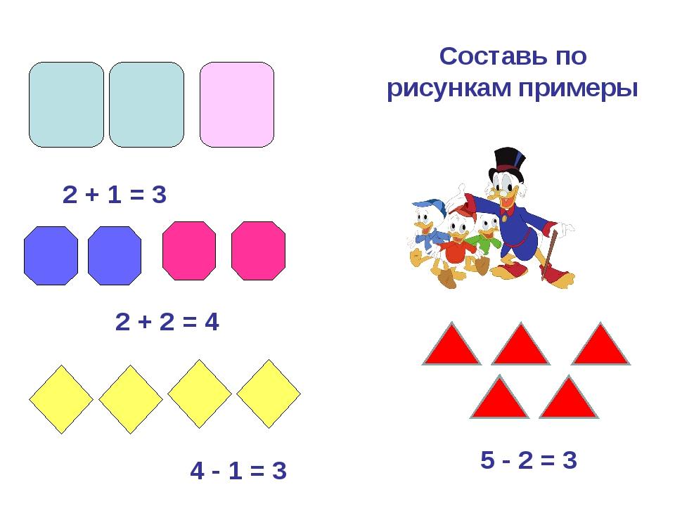2 + 1 = 3 2 + 2 = 4 4 - 1 = 3 Составь по рисункам примеры 5 - 2 = 3