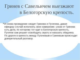 Гринев с Савельичем выезжают в Белогорскую крепость. И снова провидение свод