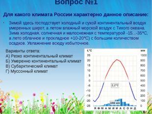Вопрос №1 Для какого климата России характерно данное описание: Зимой здесь г