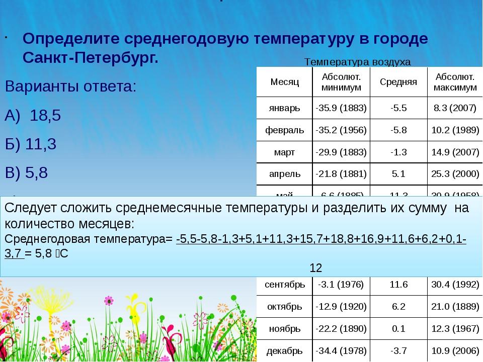 Вопрос №19 Определите среднегодовую температуру в городе Санкт-Петербург. Вар...