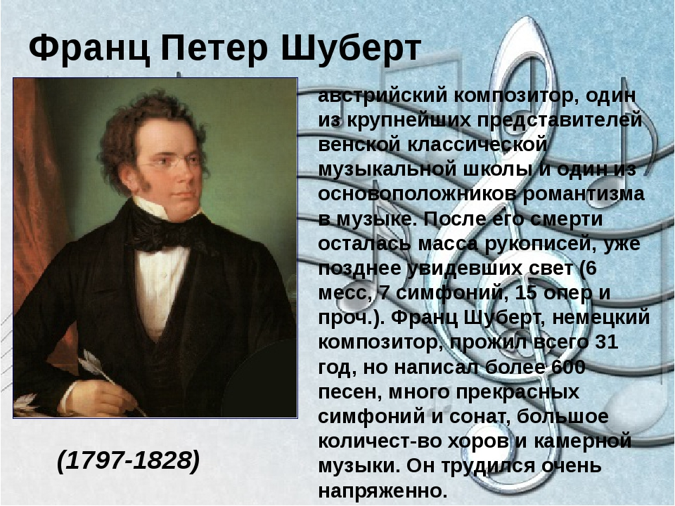Франц Петер Шуберт (1797-1828) австрийский композитор, один из крупнейших пр...