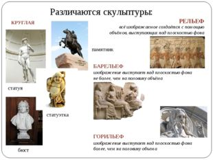 Различаются скульптуры: КРУГЛАЯ статуя статуэтка бюст памятник РЕЛЬЕФ всё изо