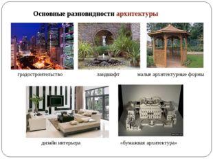 Основные разновидности архитектуры градостроительство ландшафт дизайн интерье