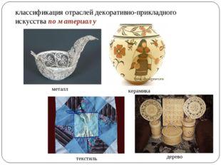 классификация отраслей декоративно-прикладного искусствапо материалу металл