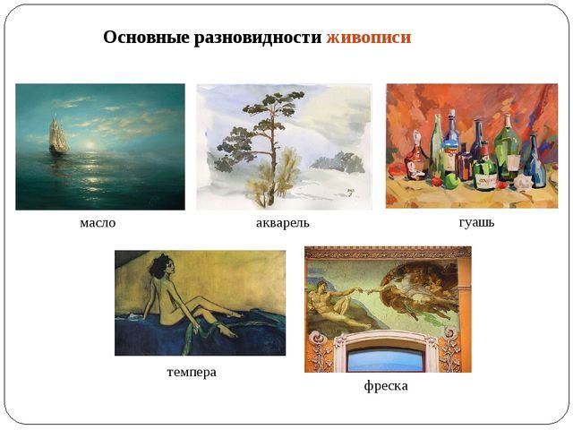Основные разновидности живописи масло акварель гуашь темпера фреска