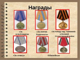 Награды «За освобождение Праги» «За взятие Будапешта» «За победу над Германи