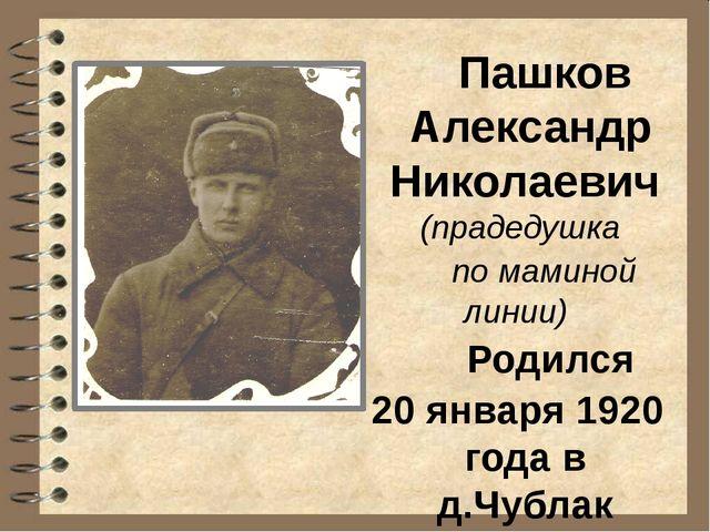 Пашков Александр Николаевич (прадедушка по маминой линии) Родился 20 января...