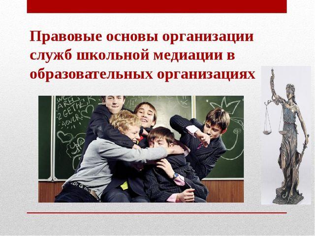 Правовые основы организации служб школьной медиации в образовательных организ...