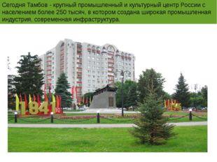 Сегодня Тамбов - крупный промышленный и культурный центр России с населением