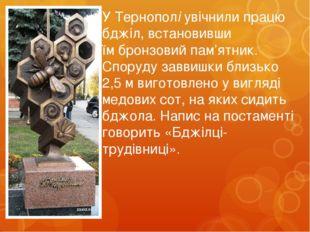У Тернополі увічнили працю бджіл, встановивши їмбронзовий пам'ятник. Споруду