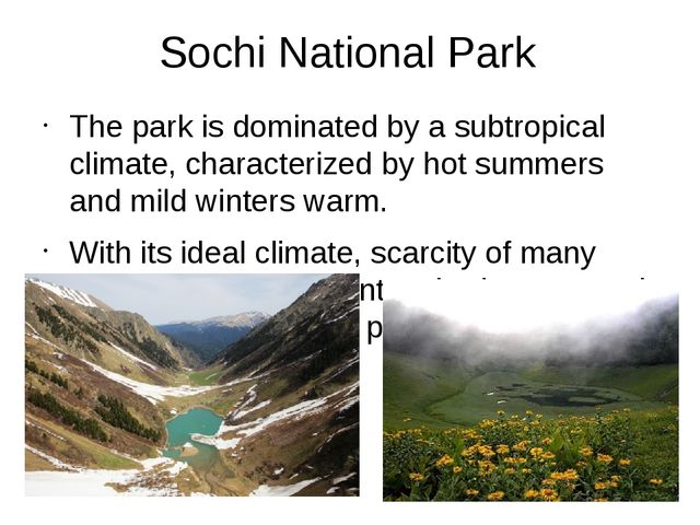 Sochi National Park The park is dominated by a subtropical climate, character...