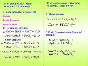 Тұз қышқылының ортақ химиялық қасиеттері Тұз қышқылының өзіне тән химиялық қа