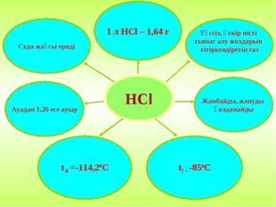 HCl Суда жақсы ериді 1 л HCl – 1,64 г Түссіз, өткір иісті тыныс алу жолдарын
