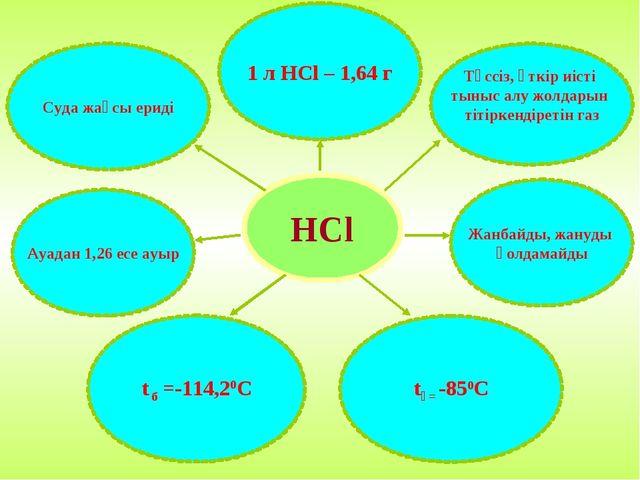 HCl Суда жақсы ериді 1 л HCl – 1,64 г Түссіз, өткір иісті тыныс алу жолдарын...