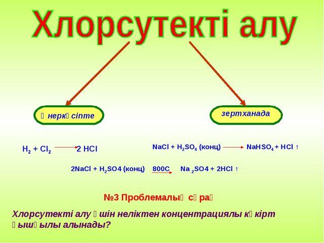 Өнеркәсіпте зертханада H2 + Cl2 2 HCl NaCl + H2SO4 (конц) NaHSO4 + HCl ↑ 2NaC...