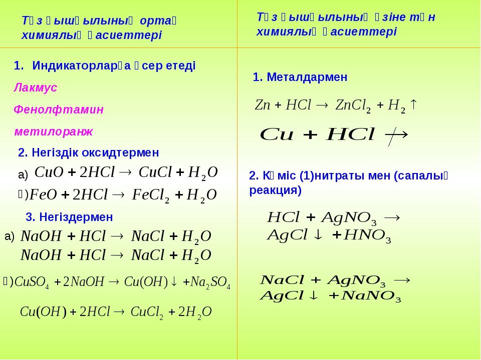 Тұз қышқылының ортақ химиялық қасиеттері Тұз қышқылының өзіне тән химиялық қа...