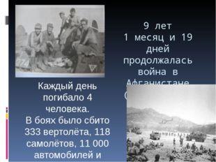 9 лет 1 месяц и 19 дней продолжалась война в Афганистане (1979 – 1989 гг.) К