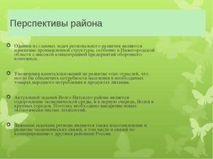 Перспективы района Одними из главных задач регионального развития являются из