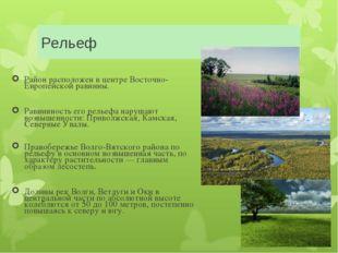 Рельеф Район расположен в центре Восточно-Европейской равнины. Равнинность ег