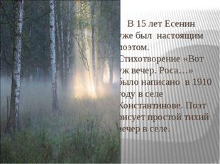 В 15 лет Есенин уже был настоящим поэтом. Стихотворение «Вот уж вечер. Роса…
