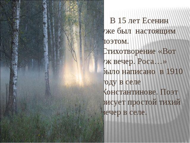В 15 лет Есенин уже был настоящим поэтом. Стихотворение «Вот уж вечер. Роса…...