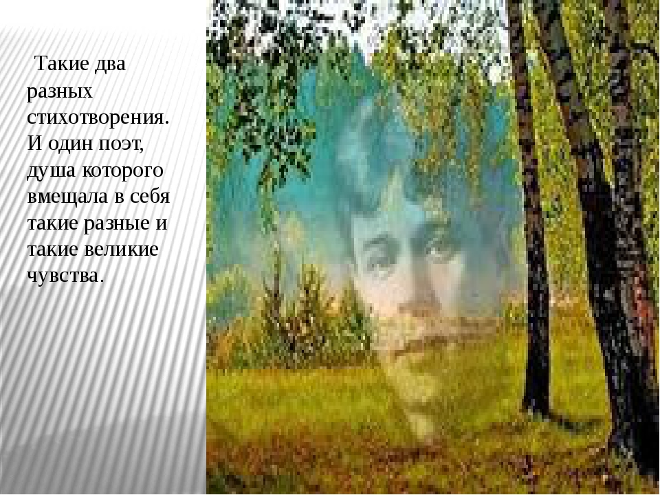 Такие два разных стихотворения. И один поэт, душа которого вмещала в себя та...