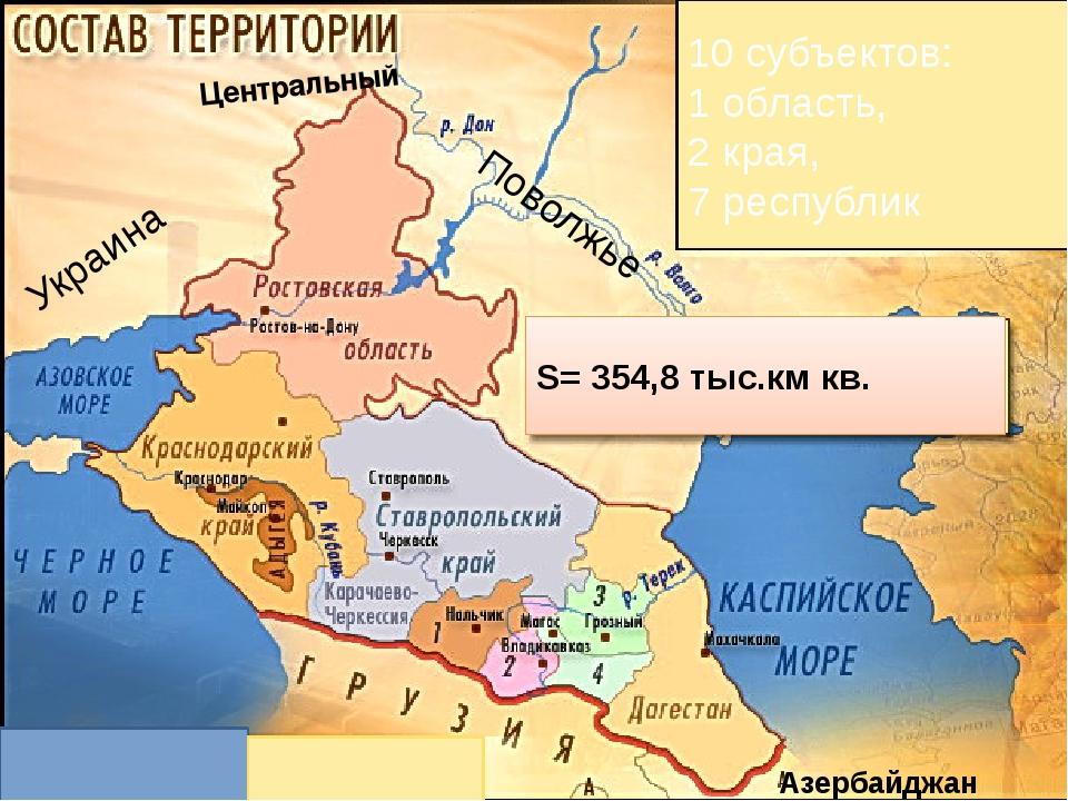 Состав Северного Кавказа S= 354,8 тыс.км кв. Украина Центральный Поволжье 10...