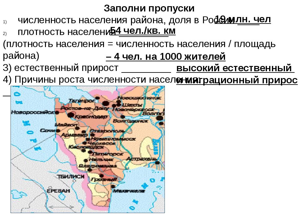 Заполни пропуски численность населения района, доля в России ____ плотность н...