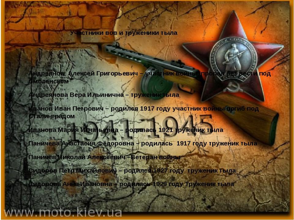 Участники вов и труженики тыла Андреянов Алексей Григорьевич – участник войн...