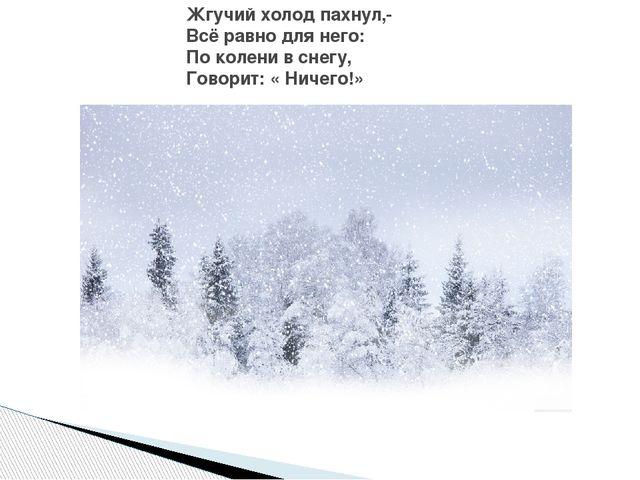 Жгучий холод пахнул,- Всё равно для него: По колени в снегу, Говорит: « Ничег...