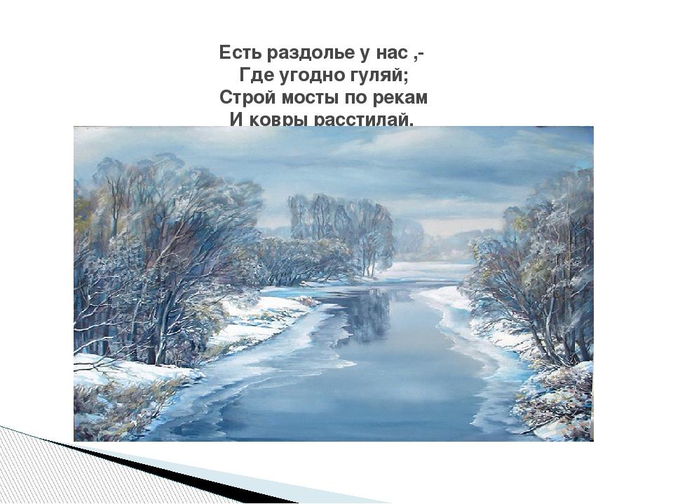 Есть раздолье у нас ,- Где угодно гуляй; Строй мосты по рекам И ковры расстил...