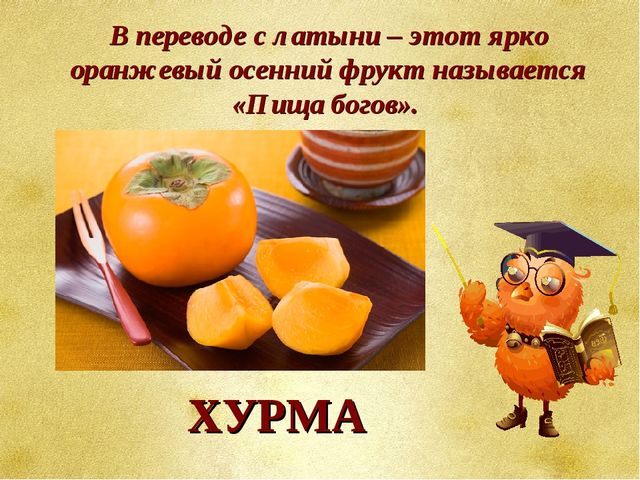 В переводе с латыни – этот ярко оранжевый осенний фрукт называется «Пища бого...