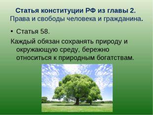 Статья конституции РФ из главы 2. Права и свободы человека и гражданина. Стат