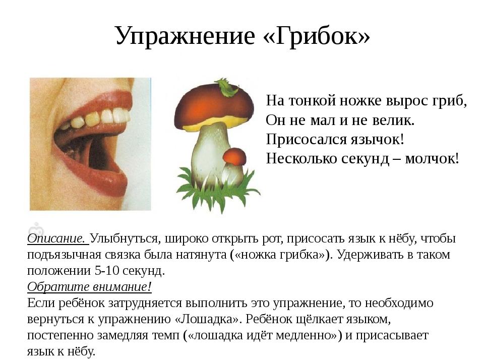 Упражнение «Грибок» Описание. Улыбнуться, широко открыть рот, присосать язык...