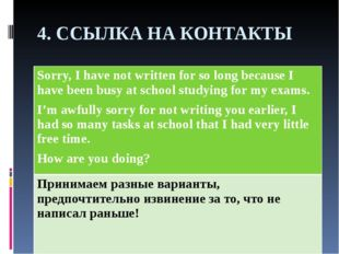 4. ССЫЛКА НА КОНТАКТЫ Sorry, I have not written for so long because I have be