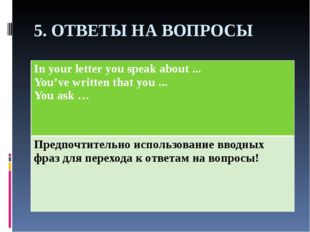 5. ОТВЕТЫ НА ВОПРОСЫ In your letter you speak about... You've written that yo