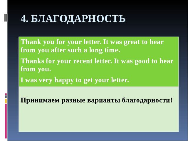 4. БЛАГОДАРНОСТЬ Thank you for your letter. It was great to hear from you aft...