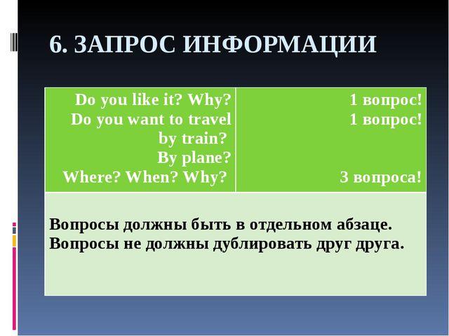 6. ЗАПРОС ИНФОРМАЦИИ Do you like it? Why? Do you want to travel by train? By...