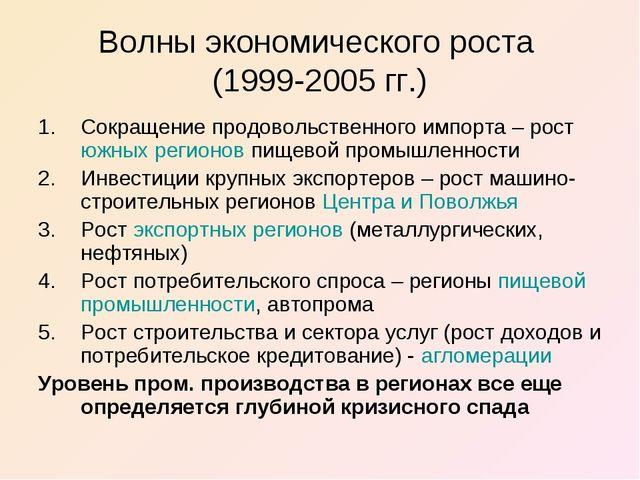 Волны экономического роста (1999-2005 гг.) Сокращение продовольственного импо...